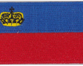 Flag of Liechtenstein Iron On Patch 2.5 x 1.5 inch Free Shipping (Small)