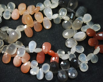 8 Inch Finest Quality,Multi Moonstone Faceted Pear Shape Briolettes,12-10mm size