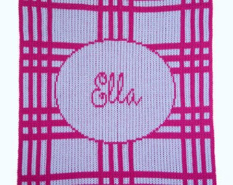 Plaid Initials & Block Blanket Custom Monogram Woven Blanket