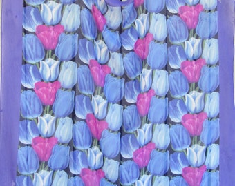 Holland Tulip Scarf, Blue & Magenta Square Fashion Scarf, Gift for Her, Scarf Gift for Mom, Tulip Gardens, Blue Tulips, Purple Tulips