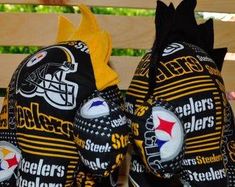 Nerdisaurus Handmade Handsewn Pittsburgh Steelers Football Fan Stuffed Stegosaurus Dinosaur NFL Toy