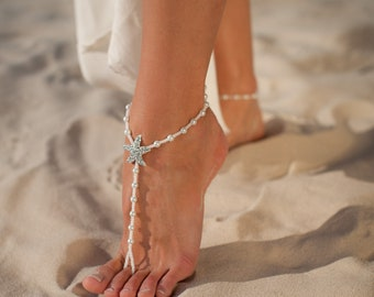 The Fiji Beach wedding barefoot sandals Bridal foot jewelry Starfish barefoot sandles Beach shoes Footless sandals Bridesmaid gift