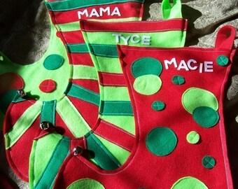 Mega Personalized  Elf  Stocking set of 4