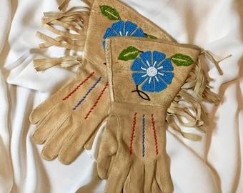 Vintage Beaded Buckskin Native American Navajo Gauntlet Gloves