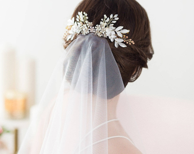 Rose Gold Wedding Hair Comb, Flower Headpiece, Bridal Hair Comb, Leaf Headpiece, Flower Hair Comb, Opal Crystal Hair Comb, Flower Hairpiece