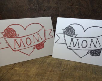 MOM Stamped Note Card, Mother's Day, Mom tattoo, Roses, Hand Carved Stamp, Stamped, For Mom, Blank Greeting Card