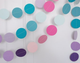 Party Paper Garland, Blues Pink Purple Lavender Garland, Girl Birthday Party, All Occasion, Party Decoration, 12'
