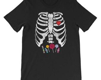 Skeleton Candy Rib Cage X-Ray Halloween T-Shirt
