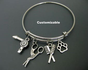 Dog Groomer Bracelet /  Scissors  Bangle / Hairdryer / Pet Lover / Charm Bracelet / Adjustable Bangle / Expandable Bangle / Paw Bangle