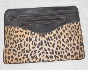 80s Designer Leather Faux Leopard Handbag Awesome Envelope Clutch Original Retro Boho Bag Casleigh New York