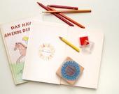 Ex Libris Stamp for Kids, Book Stamp, Exlibris Stamp, School Stamp, Children stamp, Sunflower Stamp, Custom Book Stamp, Book plate, Flower