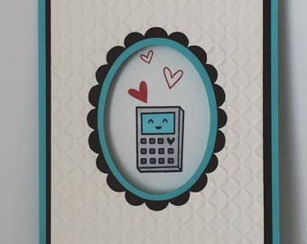 You plus me equal love-geeky math card for any occasion