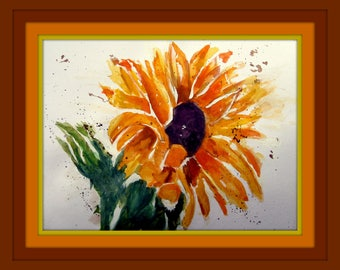 Watercolor - Original - Sunflower Loose Painting - Unframed