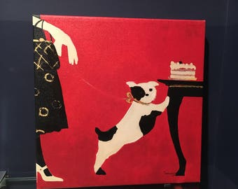 French Flea Market Patisserie - Dog with Cake Print
