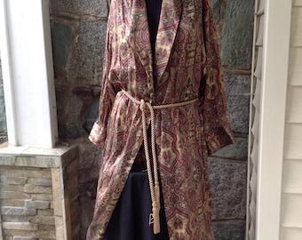 Victoria's Secret Paisley Silk Robe Dressing Gown Full Length