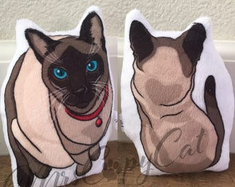 Siamese Cat Plush - Small Cat Shaped Plushie - Siamese Cat Softie Toy - Cat Lovers Gift - Cat Loss Gift - Crazy Siamese Cat Lady Gift