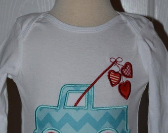 Personalized Valentine's Truck Heart  Applique Shirt or Bodysuit Girl or Boy