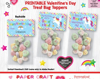 Unicorn Valentine Treat Bag Toppers | Printable Classroom Valentines | Classroom Exchange Cards | By Paper Craft Valentines