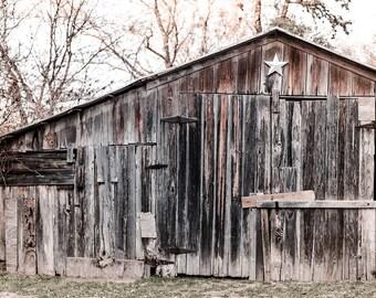 Texas photography, rustic home decor, barn photography, texas star, rustic photography, cool neutrals, gray, large wall art, texas decor