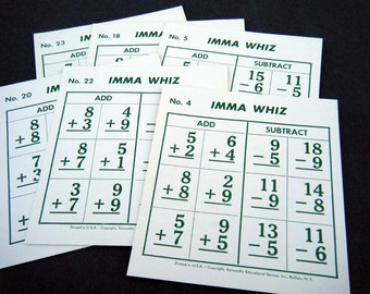 IMMA WHIZ Vintage Math Flash Cards for Mixed Media, Scrapbooking, Collage