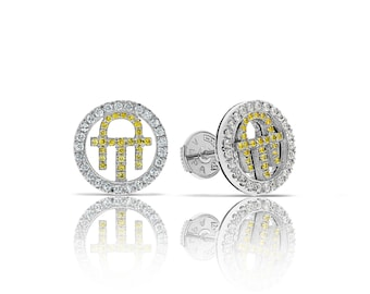 Diamond Earrings GOLD Diamond Earrings Gold Earrings Anniversary Gift Gift For Wife Wedding Earrings Yellow Diamonds Earrings Mothers Day