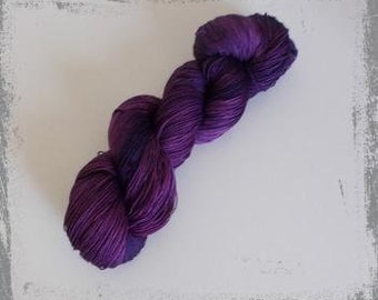 Hand Dyed lace yarn, merino silk, purple, plum