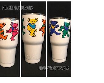 "YETI RAMBLER custom made with ""Grateful Dead Bears"" logo,30oz Yeti,Personalized cup dead head"