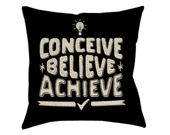 Linen cushion cover 43x43cm BELIEVE vision board