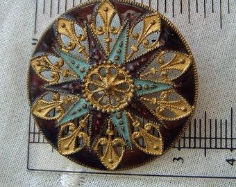 Vintage Pierced Enamel Sewing Button Antique Victorian Supply Burgundy Gold Turquoise Colors Star Flower Snowflake Mandala Design