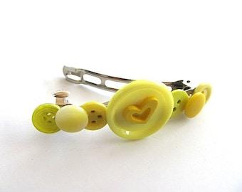Sunshine Yellow Button Barrette FREE US Shipping