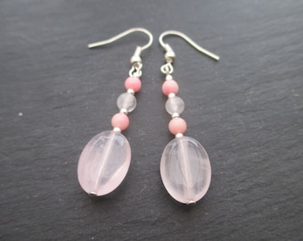 Rose quartz and pink coral earrings