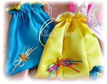 Starfish beach wedding drawstring bridal bag, wedding money dance bag, turquoise and yellow his and hers.