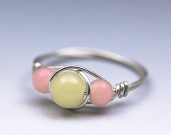 Yellow and Peruvian Pink Opal Gemstone Sterling Silver Wire Wrapped Bead Ring - Made to Order, Ships Fast!