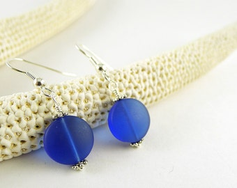 Sea glass earrings cobalt blue seaglass jewelry frosted glass beaded jewelry sterling silver handmade jewelry beach glass earrings for women