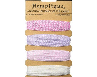 Flamingo Pallette, Pastel Cotton Bakers Twine, 4 Colors (pink, light purple, light pink, and ecru) 120 Feet Total by Hemptique