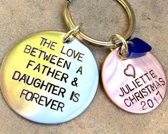The Love Between A Father And Daughter Is Forever, Personalized Keychains, Father Daughter Gifts, natashaaloha