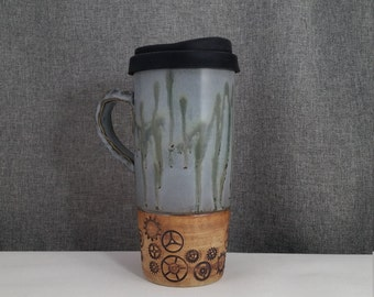 IN STOCK** Ceramic Travel mug / Commuter mug with silicone lid - Sage Blue / Cogs