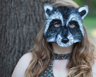 Raccoon Mask, Raccoon Costume, handmade, animal mask, animal costume, adult costume, woodland, rocket raccoon