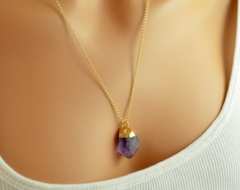 Long Raw Amethyst Necklace, Made to Order, Pendant Necklace, Purple Gemstone Jewelry, Gold Filled Rolo Chain, Free Shipping