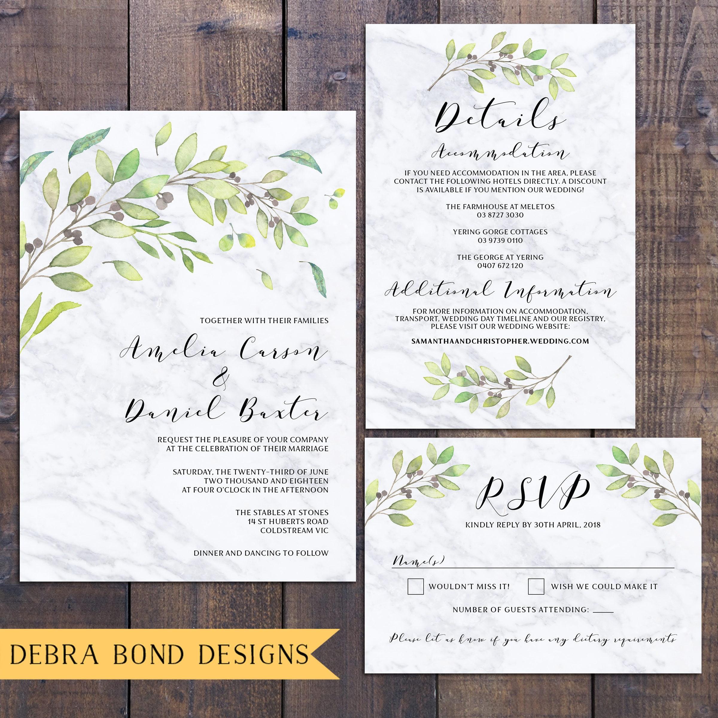 Wedding suite, wedding invitation, botanic invitation, marble ...