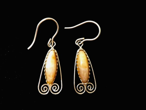 Silver plated drop agate earrings in Art Nouveau style, in gift box