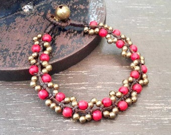 Summer Berry Beaded Bracelet in Red Coral