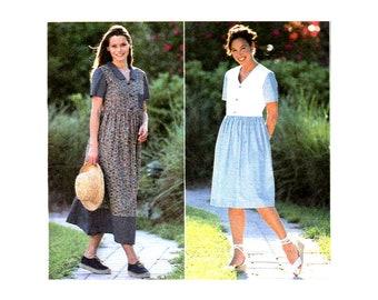 Women's Dress Sewing Pattern, Gathered Skirt, Button Front Bodice, Short Sleeve / Sleeveless, Plus Size 14, 16, 18, UNCUT Simplicity 7577