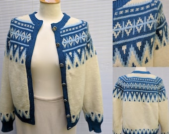 1960s Womens Nordic Style Wool Sweater from Viking Knit , Size S, made in Norway
