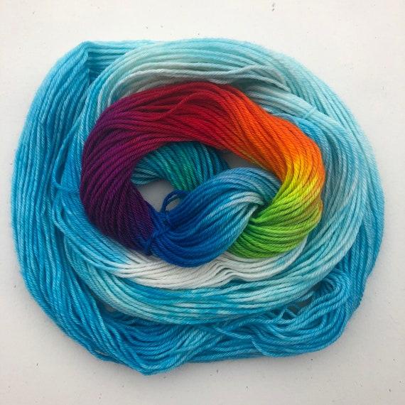 Summer Skies Rainbow 20g Miniskein, indie dyed merino nylon blend sock yarn