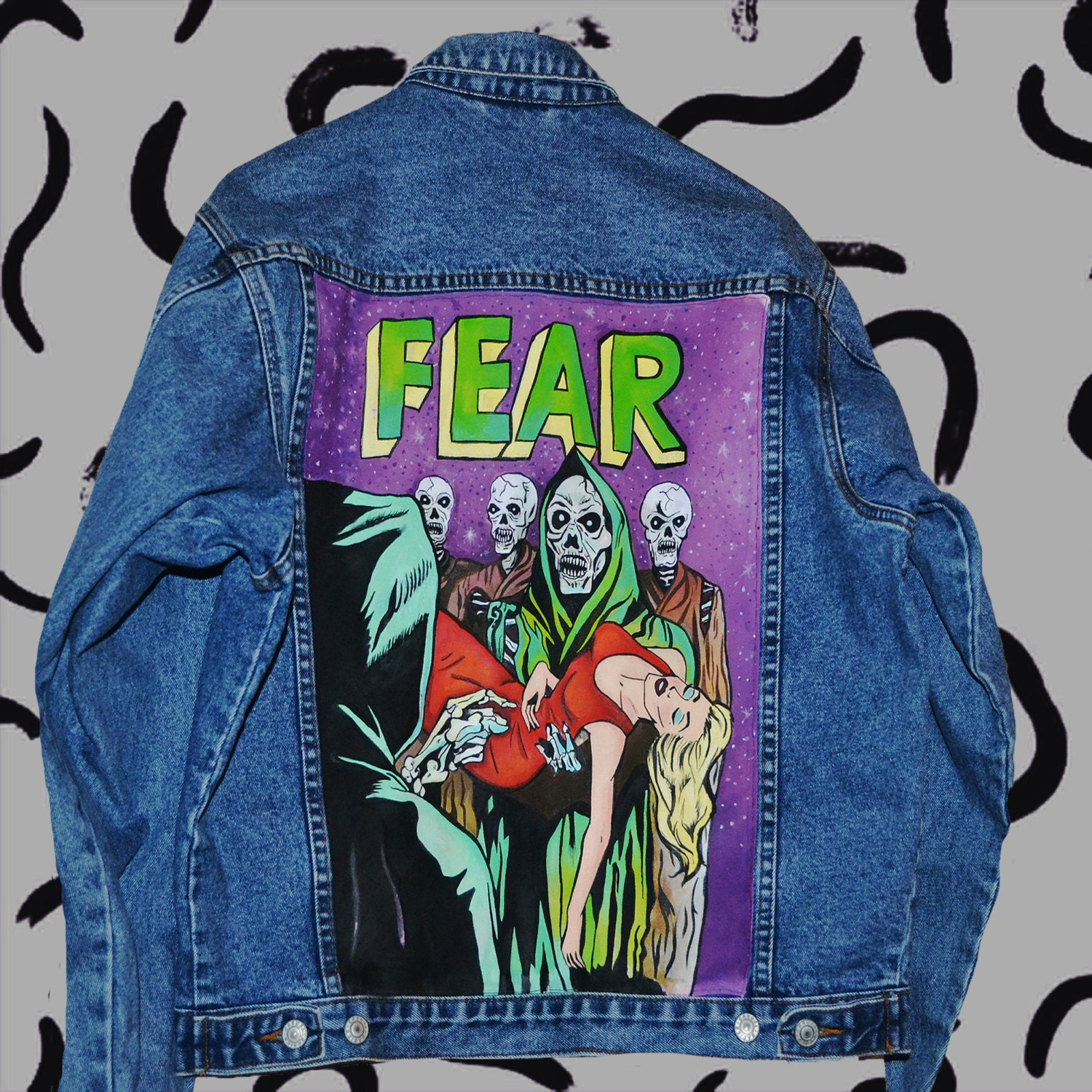Vintage Horror Comics Handpainted Denim Jacket