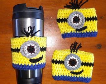 Crochet Minion Coffee Cozy Sleeve