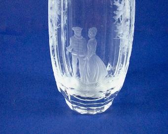 Signed Moser Crystal Vase of Elizabethian Courting Couple