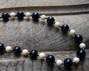 Vintage Black & White Bauble Necklace