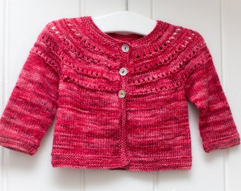 Hand Knit Baby Cardigan - Cherry Red - 0-3 months - luxury Merino Wool/Silk blend yarn, handmade baby clothes